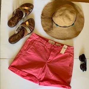 Anthropologie Chino relaxed pink shorts